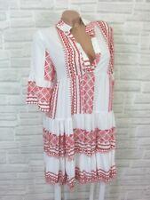 Hippie Blogger Hängerchen Kleid Tunika Volant Print 36 38 40 42 Weiß Rot K170