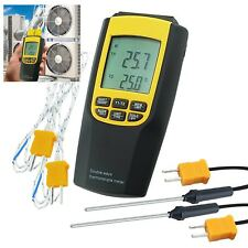 K / J Type Thermocouple Thermometer 4 Probes LCD Backlight Temperature Meter