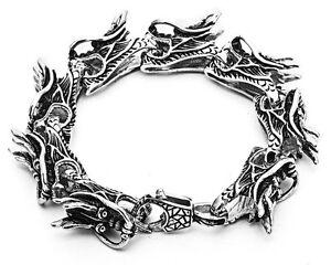 "8.5"" Rocker Biker Gothic Silver Dragon 316L Men Stainless Steel Bracelet Chain"