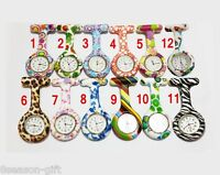 HX Print Silicone Nurse Watch Brooch Tunic Fob Watch Doctor Medical With Battery