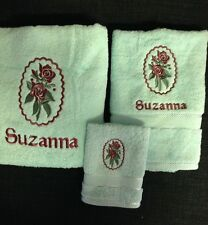 EMBROIDERED  BATH TOWEL  + HANDTOWEL & WASHER -  CAMEO ROSE
