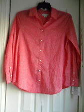 Liz Claiborne Long-Sleeve Tiny Floral Button-Front Shirt Bright Rose Size: M New