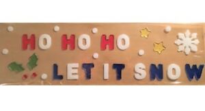 Christmas Window Stickers Clings Gel Snowflakes Christmas Ho Ho let it snow