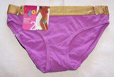 Rio Ladies Purple Black Hipster Bikini Brief 2 Pack Size 10 / 12 New