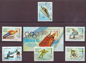 Laos, Winter Olympics, Set of 6 + Souvenir Sheet, Cancelled to Order 1983