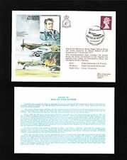 Great Britain Flown Cover 1977 Wwii Raf A.C. Deere & Insert Card (