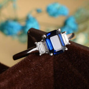 Ladies Sterling Silver 925 /& 1.50 Ct Sapphire Cluster  Engagement Ring size Q.5