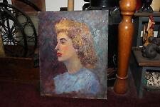 Vintage Herb Rubinfeld Oil Painting-1950's Woman-Stern Teacher-Red Lipstick