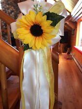 Wedding Pew Bows Yellow Black Eyed Susan Ivory Flower Church Chair Decoration