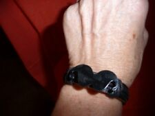 Black Mustache Leather Bracelets Adjustable. NWOT