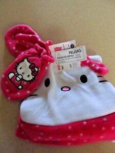 NWT Hello Kitty fleece hat cat mittens pink white   Girls  2T - 4T   NEW