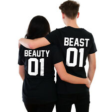 Beauty and Beast T-shirts Funny Couples Gym Sports Gift Him Her Valentines Day
