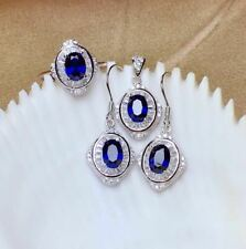 Certified Natural Sapphire 925 Sterling Silver Pendant Ring Earrings Set Gift
