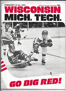 February 21-22 1975 WISCONSIN vs MICHIGAN TECH College Hockey Program (JS)