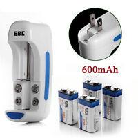 4x 600mAh 9V Li-ion Rechargeable Battery + AA AAA 9V Li-Ion NI-MH NI-CD Charger