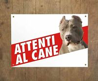 PITBULL 1 Attenti al cane Targa cartello metallo Beware of dog sign metal