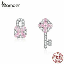 Bamoer The key of Heart lock S925 silver Stud Earrings With Cz For Women Jewelry