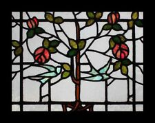 Rare Mackintosh Rose Tree Of Life With Bluebirds Antique Stained Glass Window
