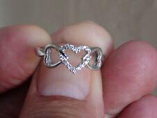 Diamond 10KT White Gold Heart Band Ring ~SZ. 7