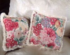 "Pair of Small 14"" Vintage Sandersons Rose and Peony frilled pillow/cushion cases"