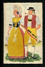 Embroidered clothing postcard  Switzerland, man woman couple