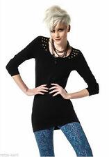 Langarm Damen-Shirts ohne Kragen aus Baumwolle