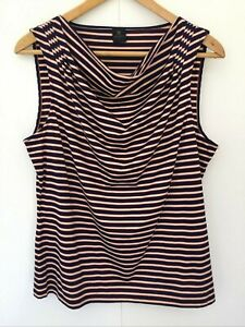 David Lawrence Women's Striped Sleeveless Top Size XL Multicoloured Cowl Neck