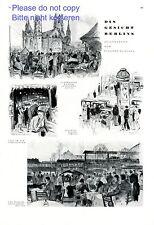 Gesichter von Berlin XL Kunstdruck 1929 Gedächtniskirche Cafe Wilhelms Hallen +