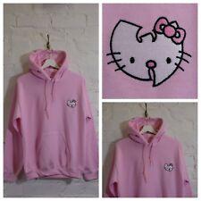 "Actual Fact ""W"" Hello Kitty Japanese Cartoon Pink Hooded Sweatshirt Hoodie"