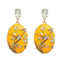 FA- Women Resin Oval Dangle Earrings Hand Painted Flower Bird Party Jewelry Myst