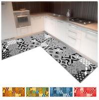 Tappeto cucina maioliche angolare o passatoia su misura al metro mod.FAKIRO36