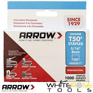 """Arrow T50 Staples Stainless Steel 8mm 5/16"""" Box of 1000 for Staple Guns"""