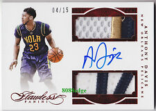 2015-16 FLAWLESS DUAL PATCH RUBY AUTO: ANTHONY DAVIS #4/15 AUTOGRAPH GAME-WORN