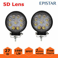 5D+ 2X 27W LED Work Light Round Spot Lamp Offroad Driving Truck Boat UTE 12V 24V