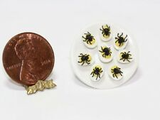 Dollhouse Miniature Spider Deviled Eggs on a Plate for Halloween