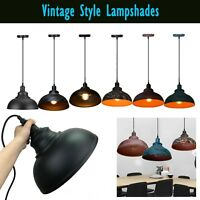Iron Vintage Retro Ceiling Light Pendant Lampshade Industrial Loft Chandelier UK