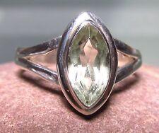 Sterling silver everyday cut green amethyst gemstone ring UK M¾/US 6.75