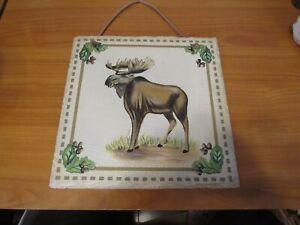 10'' x 10'' Moose Wall Slate Tile Art Cabin Lodge Outdoor Decor