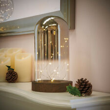 25CM INDOOR BATTERY OPERATED CHRISTMAS WIRE LIGHT GLASS OMBRE DOME BELL JAR