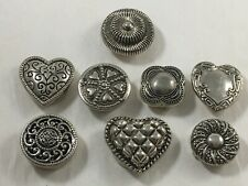 Vintage Western Heart Themed Silver tone 8 Button Covers