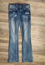 Rock Revival Evie Boot Cut Mid Rise Factory Destroyed Thick Stitch Jeans Size 26
