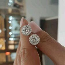 2 Ct Round Cut Diamond Screw Back Halo Women's Stud Earrings 10k White Real Gold