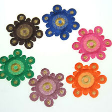 3PCS Concentric Round Flower DIY Patches Embroidered Applique Sewing Fabric Hot