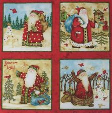 Christmas Santa Snowman Fabric Shine Your Light 4 Quilt Block Squares Mini Panel