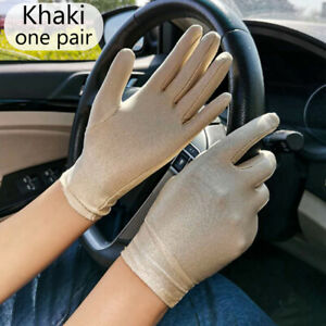 Women Spandex Thin Stretch Mittens Sun Protection Driving Gloves White 6Colors
