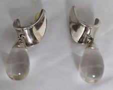 1980s Bayanihan 925 Sterling Silver And Plexiglass Drop Pierced Earrings