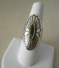 Vintage Southwest Sterling Silver Green Turquoise Ring Signed Mace   381461