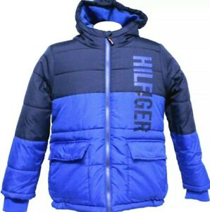 NEW! Tommy Hilfiger Boys Hooded Fleece Lined Colorblocked Jacket, Blue, Lg 14/16