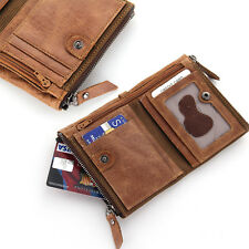 Durable Men Luxurious Genuine Bifold Leather Wallet With Zip Cash Coin Pocket