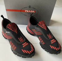 NIB $795 PRADA Men's Modern Red Knitted Nylon/Leather Sneakers 8 US 4O3223